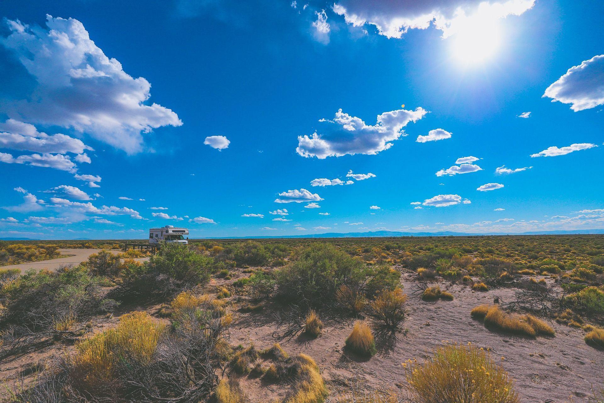 An RV in the desert